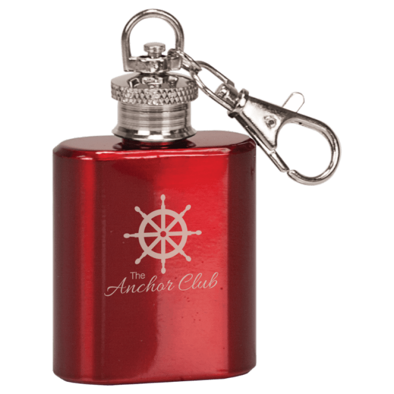 1 oz Gloss Red Stainless Steel Flask Keychain
