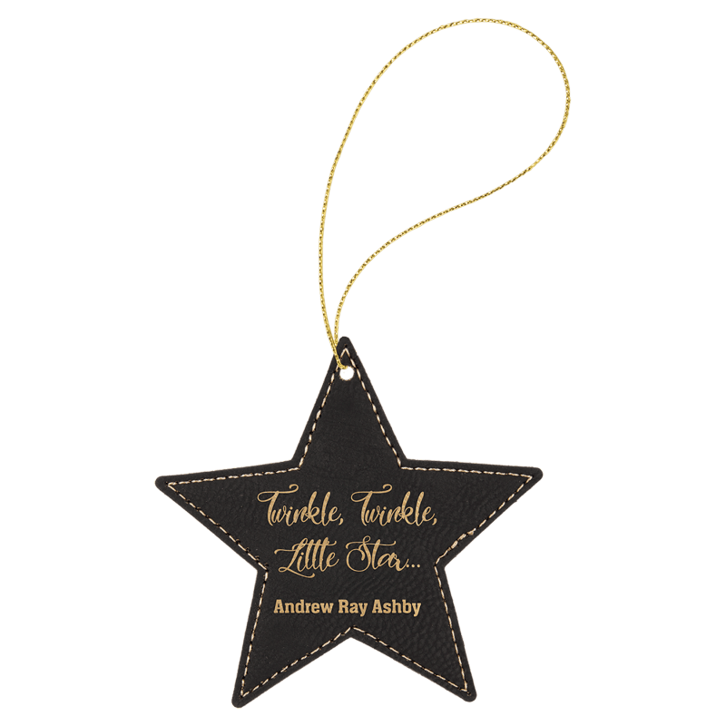 Black Gold leatherette Star Ornament with Gold String