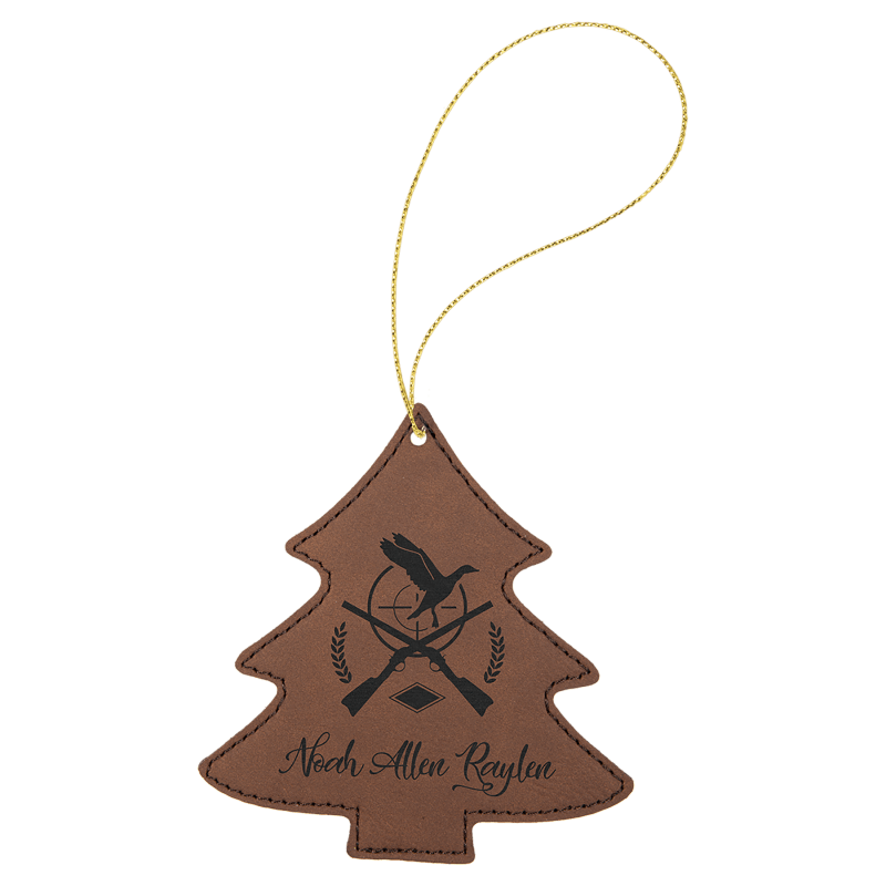 Dark Brown leatherette Tree Ornament with Gold String